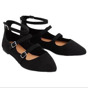 Torrid Black Triple Strap Pointed Toe Flats | 11